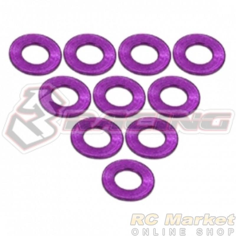 3RACING 3RAC-WF305/PU Aluminium M3 Flat Washer 0.5mm - 10 pcs - Purple