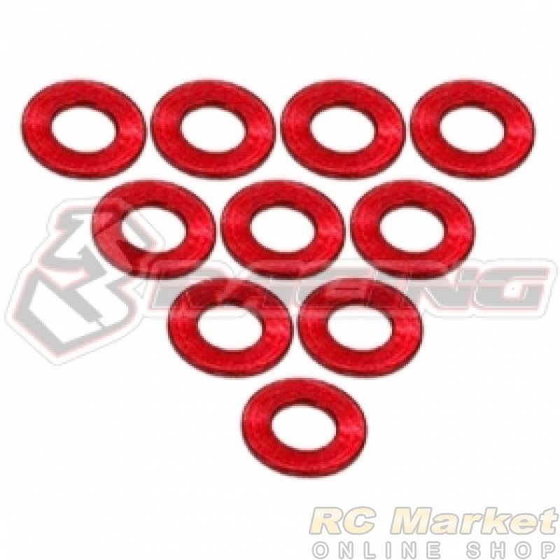3RACING 3RAC-WF305/RE Aluminium M3 Flat Washer 0.5mm - 10 pcs - Red