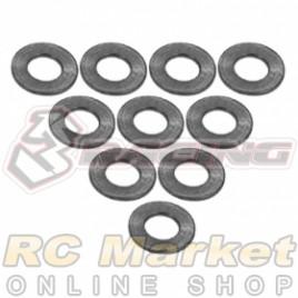 3RACING 3RAC-WF305/TI Aluminium M3 Flat Washer 0.5mm - 10 pcs - Titanium