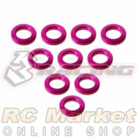 3RACING 3RAC-WF310/5/PK Aluminium M3 Flat Washer M3x5x1mm - 10 pcs - Pink