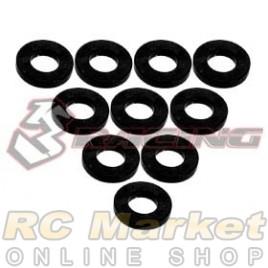 3RACING 3RAC-WF310/BK Aluminium M3 Flat Washer 1.0mm - 10 pcs - Black