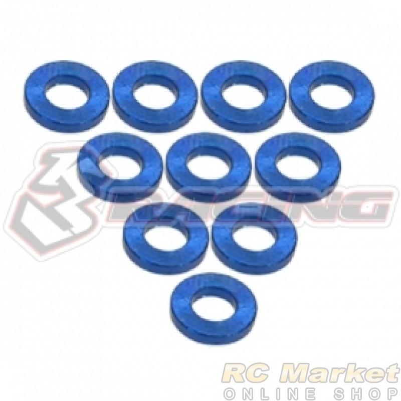3RACING 3RAC-WF310/BU Aluminium M3 Flat Washer 1.0mm - 10 pcs - Blue