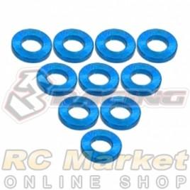 3RACING 3RAC-WF310/LB Aluminium M3 Flat Washer 1.0mm - 10 pcs - Light Blue