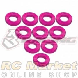 3RACING 3RAC-WF310/PK Aluminium M3 Flat Washer 1.0mm - 10 pcs - Pink