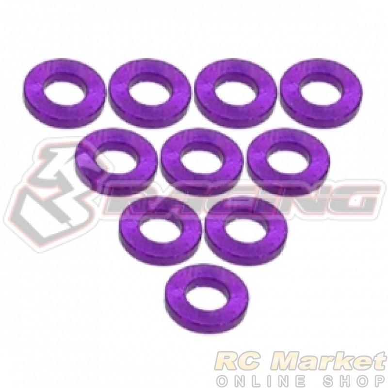 3RACING 3RAC-WF310/PU Aluminium M3 Flat Washer 1.0mm - 10 pcs - Purple
