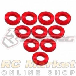 3RACING 3RAC-WF310/RE Aluminium M3 Flat Washer 1.0mm - 10 pcs - Red