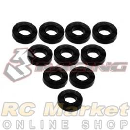 3RACING 3RAC-WF315/BK Aluminium M3 Flat Washer 1.5mm - 10 pcs - Black