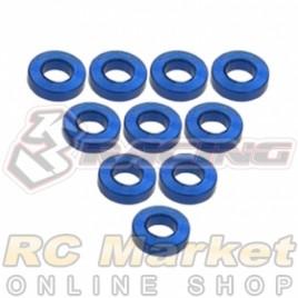3RACING 3RAC-WF315/BU Aluminium M3 Flat Washer 1.5mm - 10 pcs - Blue