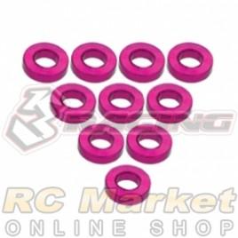 3RACING 3RAC-WF315/PK Aluminium M3 Flat Washer 1.5mm - 10 pcs - Pink