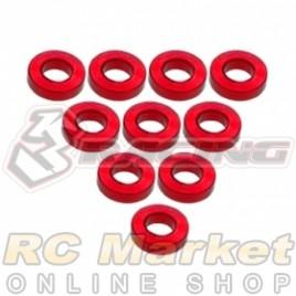 3RACING 3RAC-WF315/RE Aluminium M3 Flat Washer 1.5mm - 10 pcs - Red
