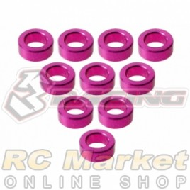 3RACING 3RAC-WF320/5/PK M4 Aluminium M3 Flat Washer M3x5x2mm - 10 pcs - Pink