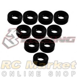 3RACING 3RAC-WF320/BK M4 Aluminium M3 Flat Washer 2.0mm - 10 pcs - Black