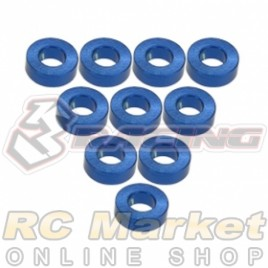 3RACING 3RAC-WF320/BU M4 Aluminium M3 Flat Washer 2.0mm - 10 pcs - Blue
