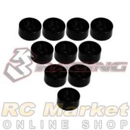 3RACING 3RAC-WF330/BK Aluminium M3 Flat Washer 3.0mm - 10 pcs - Black