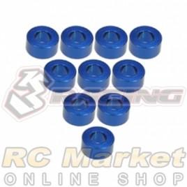 3RACING 3RAC-WF330/BU Aluminium M3 Flat Washer 3.0mm - 10 pcs - Blue