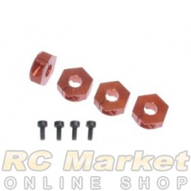 SERPENT 802255 Wheel Hexagon Alu Orange (4)