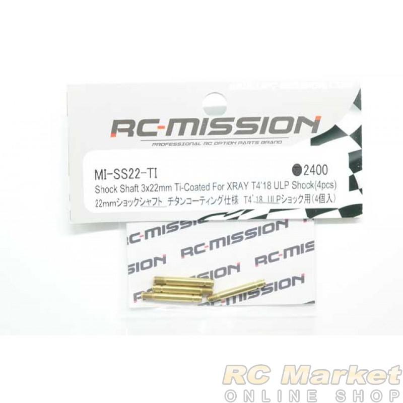 RC MISSION MI-SS22-TI Shock Shaft 3x22mm Ti-Coated For XRAY T4 ULP Shock
