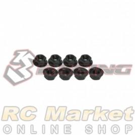 3RACING 3RAC-NS40/BL M4 4mm Aluminum Locknut Serrated (8pcs) - Black