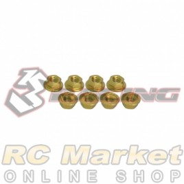 3RACING 3RAC-NS40/GO M4 4mm Aluminum Locknut Serrated (8pcs) - Gold