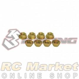 3RACING 3RAC-NS40/GO M4 4mm Aluminum Locknut Serrated (8pcs) - Gold