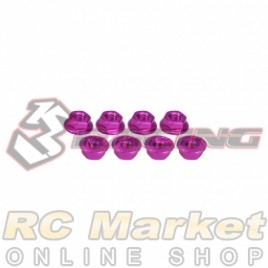 3RACING 3RAC-NS40/PK M4 4mm Aluminum Locknut Serrated (8pcs) - Pink