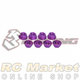 3RACING 3RAC-NS40/PU M4 4mm Aluminum Locknut Serrated (8pcs) - Purple
