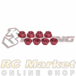 3RACING 3RAC-NS40/RE M4 4mm Aluminum Locknut Serrated (8pcs) - Red