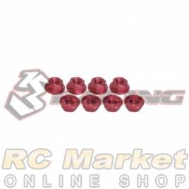 3RACING 3RAC-NS40/RE M4 4mm Aluminum Locknut Serrated (8pcs) - Red