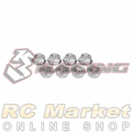 3RACING 3RAC-NS40/SI M4 4mm Aluminum Locknut Serrated (8pcs) - Silver