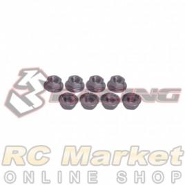 3RACING 3RAC-NS40/TI 4mm Aluminum Locknut Serrated (8pcs) - Titanium
