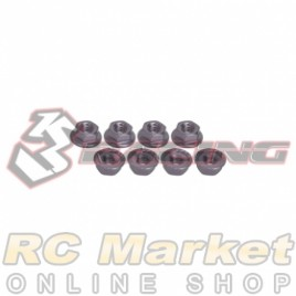 3RACING 3RAC-NS40/TI 4mm Aluminum Locknut Serrated (8pcs) - Titanium