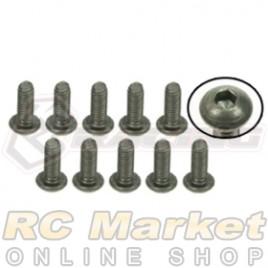 3RACING TS-BSM306M M3 x 6 Titanium Button Head Hex Socket - Machine (10pcs)