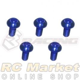 3RACING TS-BSM306AL/BU M3 x 6 AL7075 Button Head Hex Socket - Machine (5pcs) - Blue