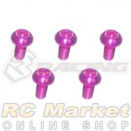 3RACING TS-BSM306AL/PK M3 x 6 AL7075 Button Head Hex Socket - Machine (5pcs) Pink