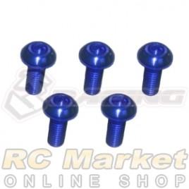 3RACING TS-BSM308AL/BU M3 x 8 AL7075 Button Head Hex Socket - Machine (5pcs) Blue
