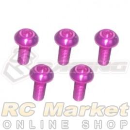 3RACING TS-BSM308AL/PK M3 x 8 AL7075 Button Head Hex Socket - Machine (5pcs) Pink