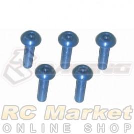 3RACING TS-BSM310AL/LB M3 x 10 AL7075 Button Head Hex Socket - Machine (5pcs) Light Blue