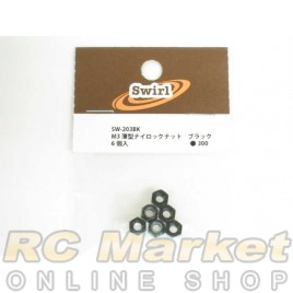 SWIRL SW-203BK M3 Thin Nylon Nut Black 6pcs