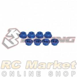 3RACING 3RAC-NS40/BU M4 4mm Aluminum Locknut Serrated (8pcs) - Blue