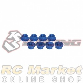 3RACING 3RAC-NS40/BU M4 4mm Aluminum Locknut Serrated (8pcs) - Blue