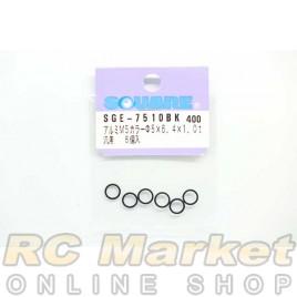 SQUARE SGE-7510BK M5 x 6.4 x 1.0t Aluminum Collar (Black) 6pcs