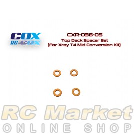 RC-COX CXR-036-05 Top Deck Spacer Set (For Xray T4 Mid Conversion Kit)