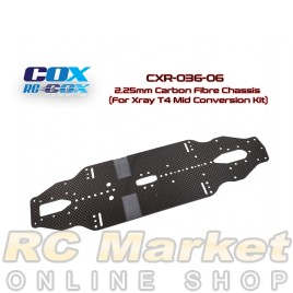 RC-COX CXR-036-06 2.25mm Carbon Fibre Chassis (For Xray T4 Mid Conversion Kit)