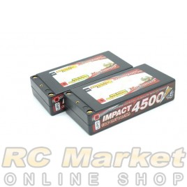 "MUCH MORE MLSG-STLCGHV4500 IMPACT ""Silicon Graphene"" LCG HV FD4 Li-Po Battery 4500mAh/7.6V 130C Shorty Flat Hard Case x 2Pack"