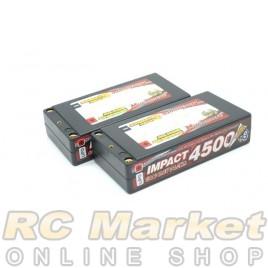 "MUCH MORE MLSG-STLCGHV4500 IMPACT ""Silicon Graphene"" LCG HV FD4 Li-Po Battery 4500mAh/7.6V 130C Shorty Flat Hard Case x 2Pack"