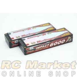 """MUCH MORE MLSG-SLCGHV6000 IMPACT """"Silicon Graphene"""" LCG HV FD4 Li-Po Battery 6000mAh/7.6V 130C Flat Hard Case x 2Pack"""