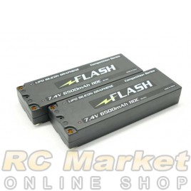 "FLASH 65LCG2S110 ""Silicone Graphene"" 110C 6500mAh/7.4V LCG Li-Po Battery Flat Hard Case x 2Pack"