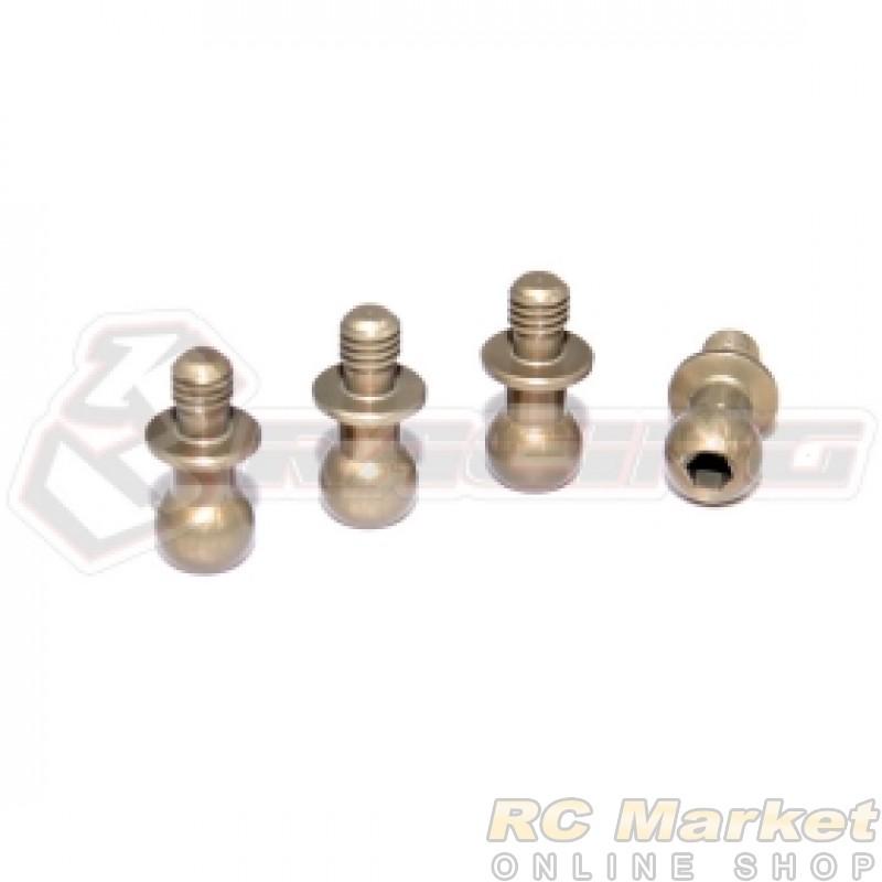 3RACING 3RAC-BS4804/TE M4 PRO 7075 Aluminum 4.8mm Hex Ball Stud H=4 (4pcs) - Teflon Coated