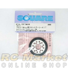 SQUARE STA-341WBK Aluminum 1 Way Front Pulley 41T (Black) for TAMIYA TA05 & Doricon SP