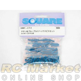 SQUARE SMF-272 Titanium & Blue Aluminum Hex Screw Set (for TAMIYA M06-PRO)